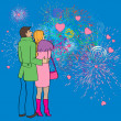 Valentines fireworks — Stock Photo