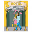 Valentines at the hotel door — Stock Photo