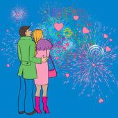 Valentines fireworks — Stock Photo