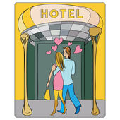 Valentines at the hotel door — Stockfoto