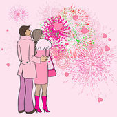 Valentine s day fireworks — Stock Photo