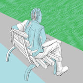 Uomo in panchina — Foto Stock