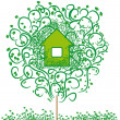 Stock Vector: Ecology emblem. harmless house.