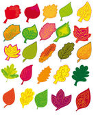 Set of different abstract colored leaves — Stock Vector