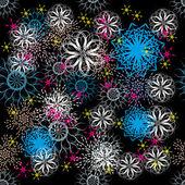 Textura sin fisuras con coloridos copos de nieve — Vector de stock