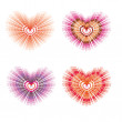 Set with heart — Stock Vector
