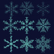 Stock Vector: Set with winter snowflake