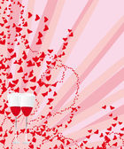 Two glasses with red wine on the background of hearts and rays. — Stock Vector
