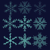 Set with winter snowflake — Stock Vector