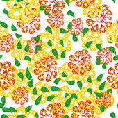 Bright vector background with abstract flowers and leaves — Stockvektor