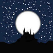 Dark silhouette of the castle on the moon background — Vector de stock