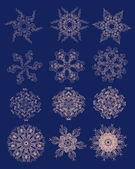 Collection of abstract snowflakes. for use in your design — Stockvektor