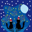 Two cats meet a holiday — Stock Vector #7544772
