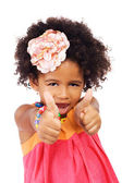 Beautiful girl showing thumbs up — Stock Photo