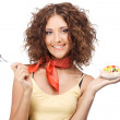 Beautiful happy woman with a jelly cake — Stock Photo