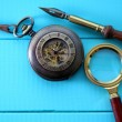 Antique pocket watch with a magnifying glass and an old pen — Stock Photo #16896123