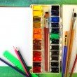 Watercolor paints with brushes — Stock Photo