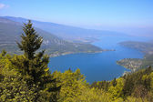 View of the Annecy lake from Col du Forclaz — Stock Photo