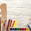 Close up of group art supplies. — Stock Photo #51678873