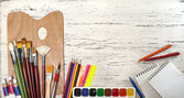 Close up of group art supplies. — Stock Photo