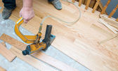 Hardwood Floor Installation — Stock Photo