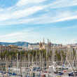 View at Barcelona and sail boats in Port Vell, Barcelona Spain — Stock Photo