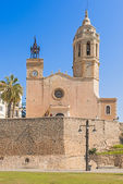 Church of Sant Bartomeu and Santa Tecla in Sitges, Spain — Stock Photo
