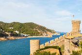 Vista di tossa de mar villaggio dall'antico castello, costa brava, s — Foto Stock