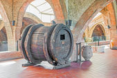 Old wine barrel from seventeen century in Codorniu winery. — Stock Photo