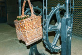 Basket with wine bottles in Codorniu winery. — Stock Photo