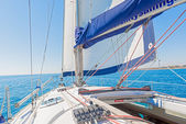 Modern Yacht main sail and deck — Stock Photo