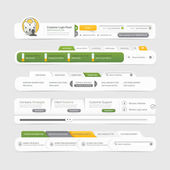 Web site design template navigation elements with icons set — Stock Vector