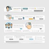 Website template design menu navigation elements with icons set — Stock Vector