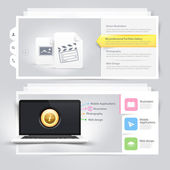 Website design elements: Vcart Portfolio template with computer laptop and icons set — Stock Vector