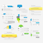 Collection of website template navigation elements with icons — Stock Vector