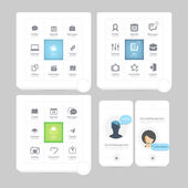 Collection of colorful flat kit UI navigation kit elements with icons for personal portfolio website and mobile templates — Stock Vector