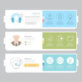 Responsive flat navigation banners with icons for templates — Stock Vector