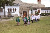 Celebrating the 25th anniversary of the rededication of the Cathedral of Peter and Paul in Kamenetz-Podolsk castle, Ukraine — Stock Photo