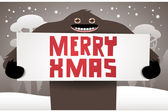 Christmas background with funny bigfoot — Stock Vector
