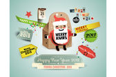 Christmas background with retro labels & Santa-Box. Vector illustration. Eps 10 — Stock Vector