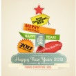 Christmas Tree of vintage new year labels. Vector background. Eps10 — Stock Vector