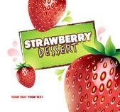 Erdbeer hintergrund. vektor-illustration für ihr design — Stockvektor
