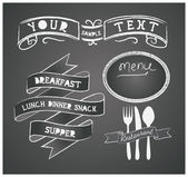 Vector set of design elements for the menu on the chalkboard — Stock Vector