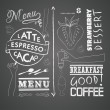 Stock Vector: Vector set of design elements for menu on chalkboard