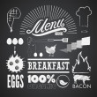 Illustration of a vintage graphic element for menu on blackboard — Vettoriali Stock