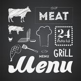Illustration of a vintage graphic element for menu on blackboard — Stock Vector