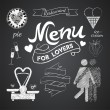 Illustration of a vintage graphic element for menu on blackboard - 