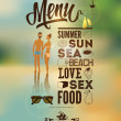 Stock Vector: Menu poster with tanned young . Vector background.