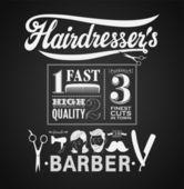 Illustration of a vintage graphic element for barbershop on blackboard — Stock Vector
