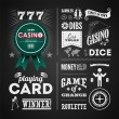 Illustrations of a vintage graphic elements for casino on blackboard — Stock Vector